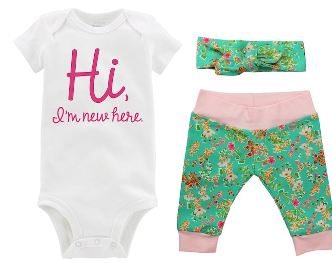 Hi I'm New Here Newborn Going Home Outfit Baby Infant Set Pink Floral Yoga Leggings Knot Headband Pink Green Flower Infant Gift Set