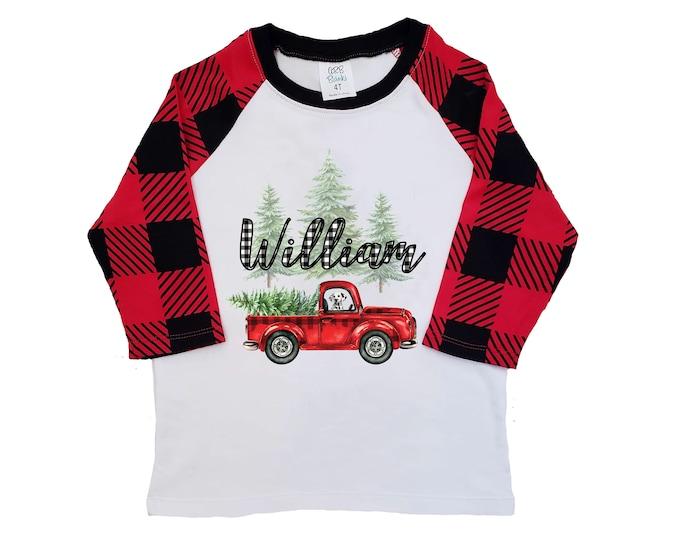Boy Christmas Shirt Red Truck Buffalo Plaid Christmas Tree Personalized Raglan Old Red Truck Dog Shirt Boy Toddler Baby Youth Shirt Black