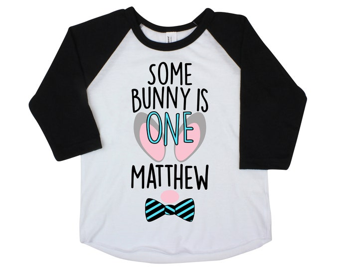 Some Bunny is One Boy Shirt Raglan Personalized Bunny Face Bow Tie Boy Birthday Shirt Birthday Bunny Ears Monogram Name Shirt
