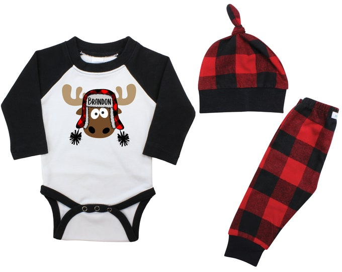 Boy Plaid Christmas Moose Personalized Raglan Outfit Carton Boy Christmas Bodysuit Buffalo Flannel Pants Winter Boy Red Black Buffalo Plaid