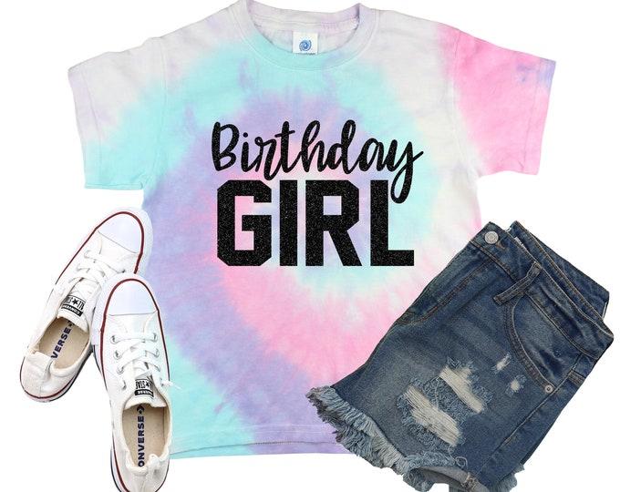 Birthday Girl Unicorn Rainbow Double Digits Personalized Tie Dye Shirt Galaxy Bright Black Tenth Birthday Party Shirt Girl Birthday Shirt