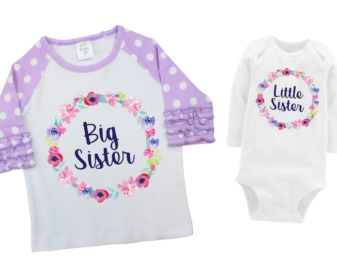 Little Sister Big Sister Matching Shirts Watercolor Floral Sister Ruffle Raglan Shirt Bodysuit Flutter Sleeve Girl Shirt Flowers Pink Purple