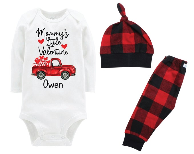 Mommy's Little Valentine Boy Outfit Personalized Old Red Truck Buffalo Plaid Pants Hat Boyish Valentine Bodysuit Hearts Valentine Truck
