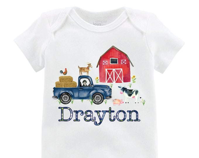 Boy Farm Shirt Red Barn Old Truck Personalized Boy Shirt Bodysuit Boy Red Barn Cow Pig Chicken Shirt Farming Shirt On the Farm
