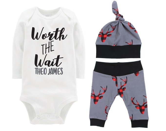 Boy Worth the Wait Going Home Outfit Yoga Pants Bodysuit Personalized Buffalo Plaid Deer Coming Home Top Knot Hat Baby Shower Gift Newborn