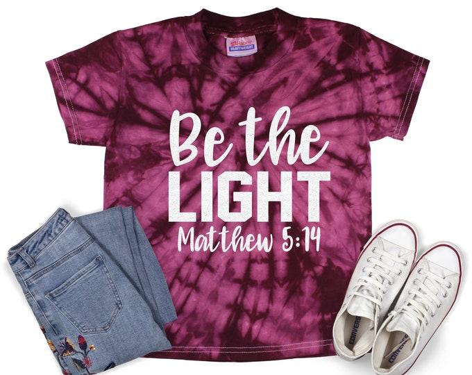 Be the Light Girl Inspirational Tie Dye Shirt Galaxy Black Glitter Vinyl Inspirational Shirt Party Shirt Girl Tie Dye Motivational Shirt