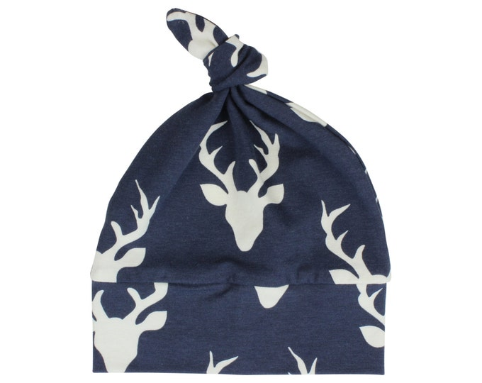 Navy Blue Deer Top Knot Hat Boy Baby Beanie Hat Unisex Buck Deer Stag Baby Newborn Beanie Toddler Slouch Beanie Baby Gift Infant
