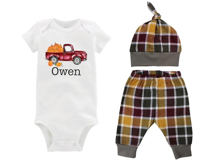 Boy Personalized Pumpkin Fall Truck Shirt Outfit Bodysuit Pumpkin Plaid Maroon Mustard Green Flannel Pants Baby Gift Top Knot Hat