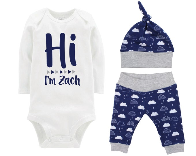 Hi I'm Personalized Name Boy Going Home Outfit Onesie Bodysuit Infant Gift Set Blue Clouds Boy Coming Home Set Baby Shower Gift Boy Newborn