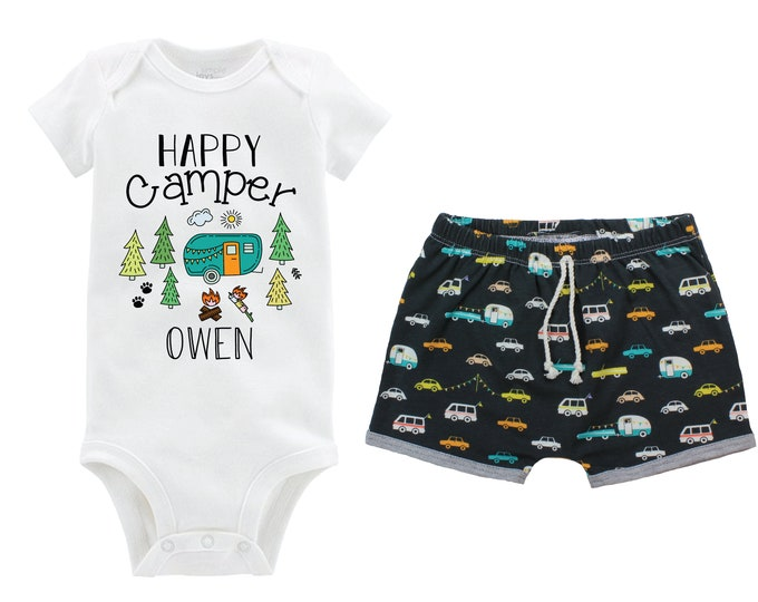 Boy Happy Camper Personalized Camping Outfit Baby Toddler Camper Shorts Teal Boy First Camping Trip Teal Orange Gray Outdoors Campfire Trees