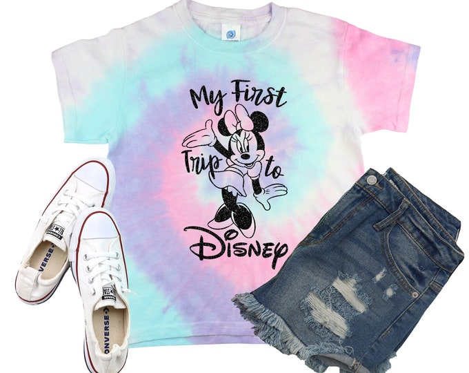 My First Trip Minnie Vacation Minty Tie Dye Shirt Galaxy Bright Black Glitter Vinyl Toddler Youth Adult Pastel Neon Tie Dye Rainbow Shirt
