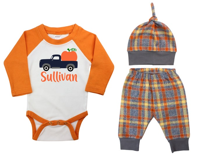 Boy Pumpkin Truck In The Patch Outfit Fall Baby Raglan Outfit Fall Plaid Pants Knot Hat Pumpkins Old Truck Orange Gray Orange Baby Raglan