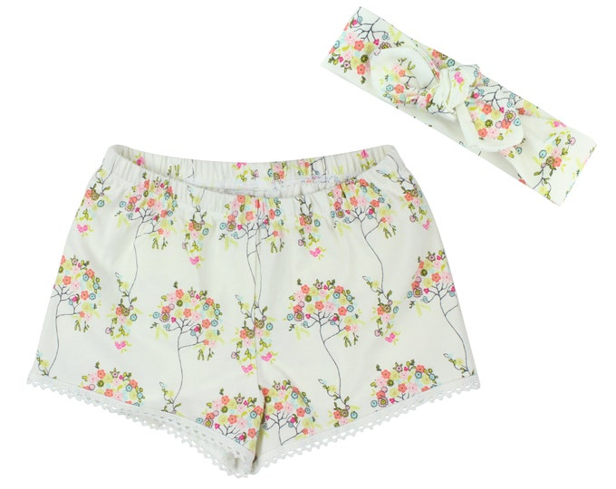 Girls Shorts Baby Shorts Lace Trimmed Shorts Baby Headband Floral Tree Cute Girl Pattern Child American Made Handmade Girl Baby Clothing