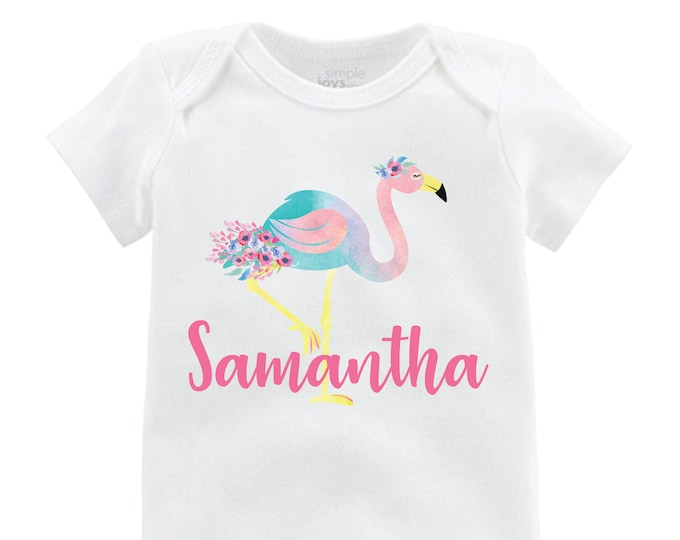 Girl Flamingo Bodysuit Flamingo Shirt Personalized Floral Raglan Flutter Sleeve Girl Shirt Leotard Monogram Shirt Floral Flamingo