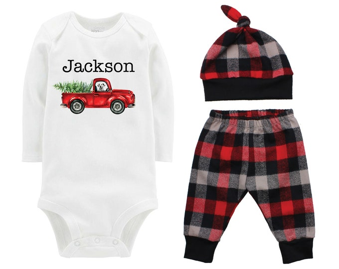 Boy Christmas Outfit Personalized Old Truck Dog Baby Outfit Bodysuit Buffalo Plaid Pants Winter Baby Outfit Boy Red Gray Black Buffalo Plaid