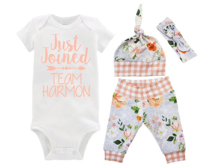Girl Going Home Outfit Just Joined Team Newborn Baby Infant Set Wedding Floral Yoga Leggings Headband Arrow Orange Floral Infant Gift Set