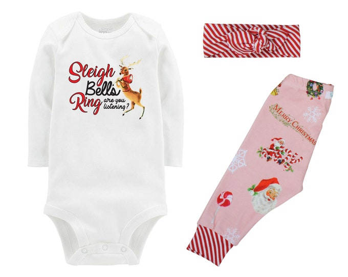 Vintage Christmas Baby Outfit Santa Reindeer Christmas Santa Claus Sleigh Bells Candy Cane Stripes Vintage Style Baby Merry Christmas