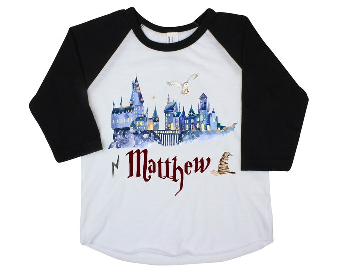 Wizard Magic Shirt Personalized Boy Wizard School Shirt Name Unisex Wizard Shirt Hat Owl Castle Black Raglan Baby Bodysuit Long Sleeve Short