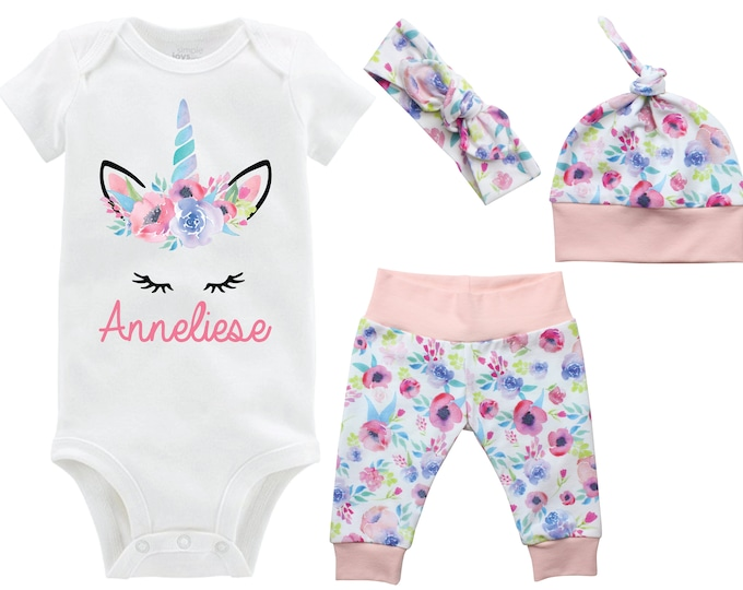 Unicorn Girl Going Home Outfit Personalized Newborn Baby Infant Set Watercolor Floral Yoga Leggings Top Knot Hat Headband