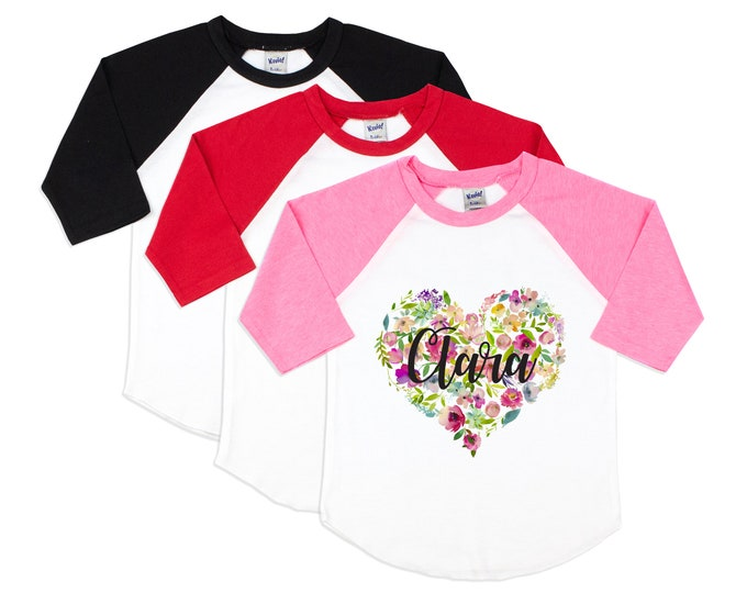 Girl Valentine's Day Shirt Watercolor Floral Heart Personalized Name Shirt Valentine Raglan Shirt for a Girl Monogram Heart with Flowers