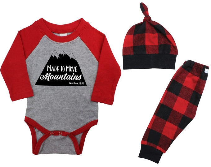 Made To Move Mountains Coming Home Raglan Outfit Boy Christmas Scripture Bodysuit Faith Buffalo Flannel Pants Winter Boy Red Buffalo Plaid