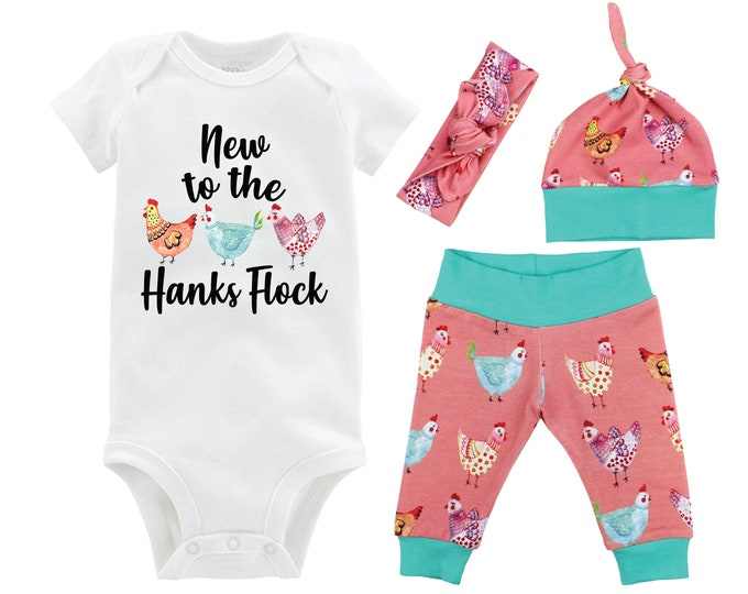 New to the Flock Baby Girl Coming Home Outfit Chicken Baby Outfit Going Home Personalized Yoga Leggings Knot Hat Headband