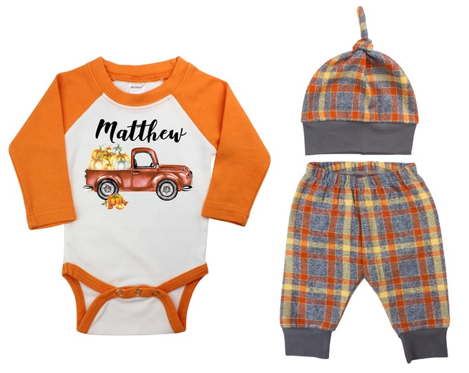 Personalized Pumpkin Truck Outfit Fall Baby Raglan Orange Flannel Plaid Pants Knot Hat Pumpkins Brown Old Rusty Truck Gray Baby Raglan
