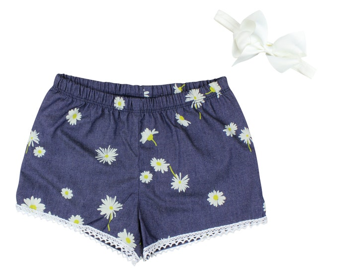Girls Denim Shorts Baby Shorts Lace Trimmed Shorts Baby Bow Denim Lace Daisy Floral Print Child American Made Handmade Girl Baby Clothing