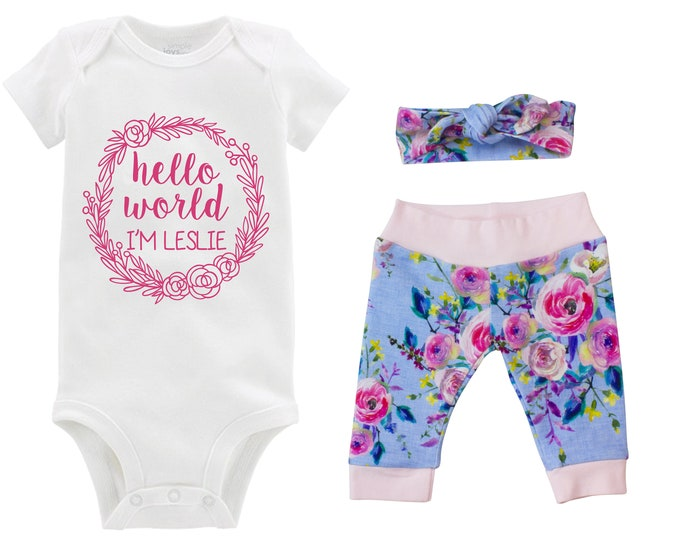 Hello World I'm Girl Going Home Outfit Newborn Baby Infant Set Watercolor Floral Yoga Leggings Top Knot Hat Headband Infertility Onesie