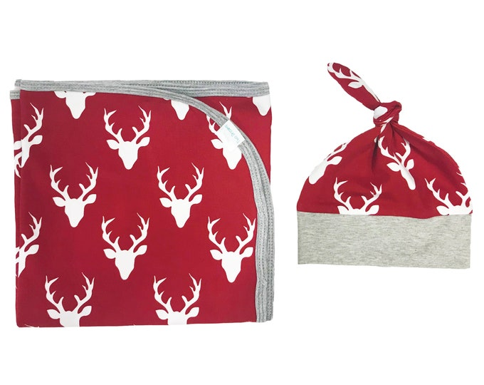 Red Buck Deer Newborn Swaddle Set Swaddle Blanket Boy Top Knot Hat Boy Swaddle Set Stag Deer Blanket Jersey Swaddle Baby Blanket