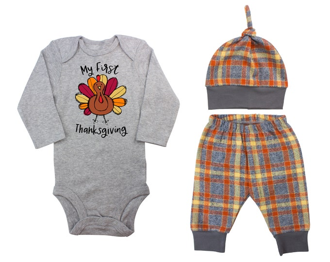My First Thanksgiving Scribble Fun Turkey Fall Personalized Outfit Plaid Orange Gray Flannel Pants Baby Bodysuit Shirt Gift Top Knot Hat