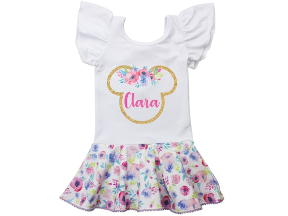Gold Minnie Mouse Ears Floral Leotard Personalized Leotard Skirt Leotard Twirl Flutter Sleeve Bow Back Leotard Birthday Watercolor Floral