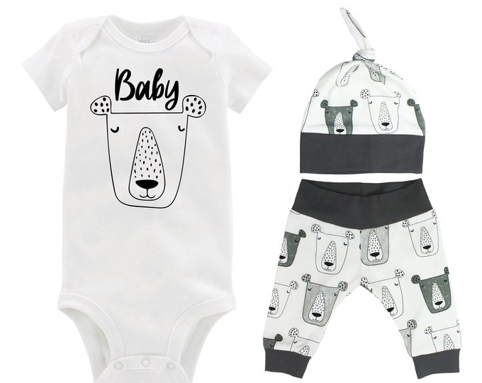 Baby Bear Boy Coming Home Outfit Gray White Bears Infant Gift Organic Cotton Going Home Baby Shower Boyish Outfit