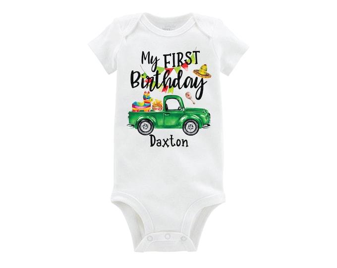 My First Birthday Fiesta Taco Birthday Bodysuit Green Truck Boy Baby Personalized Monogrammed Long or Short Sleeve Tacos Piñata Nachos