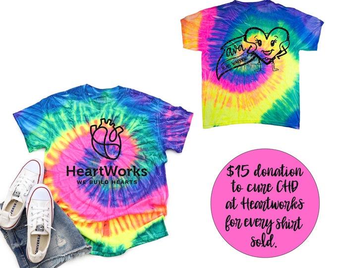 Heartworks Donation Shirt CHD Cure HLHS Warrior Girl Pastel Neon Tie Dye Shirt Galaxy Bright Black Rainbow White Glitter Vinyl