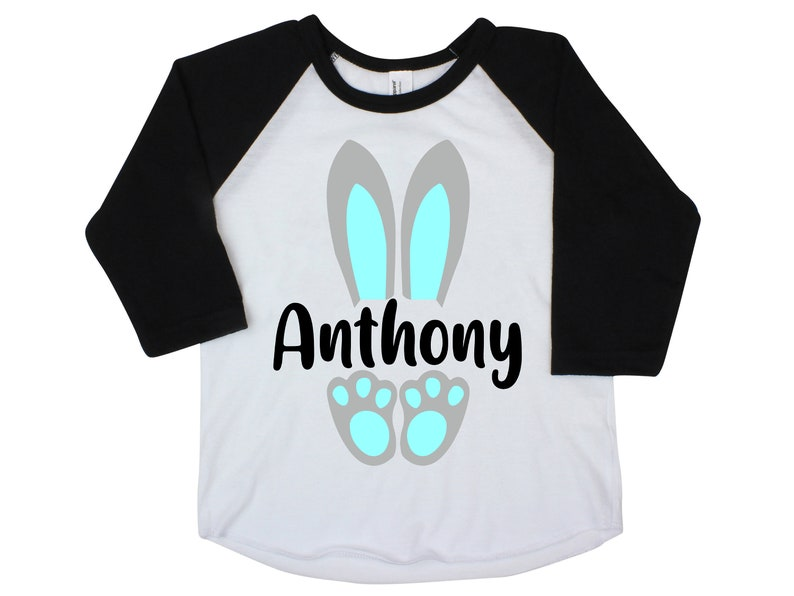 57b4f65ee Bunny Ears Boy Easter Shirt Personalized Bunny Feet Name Shirt | Etsy