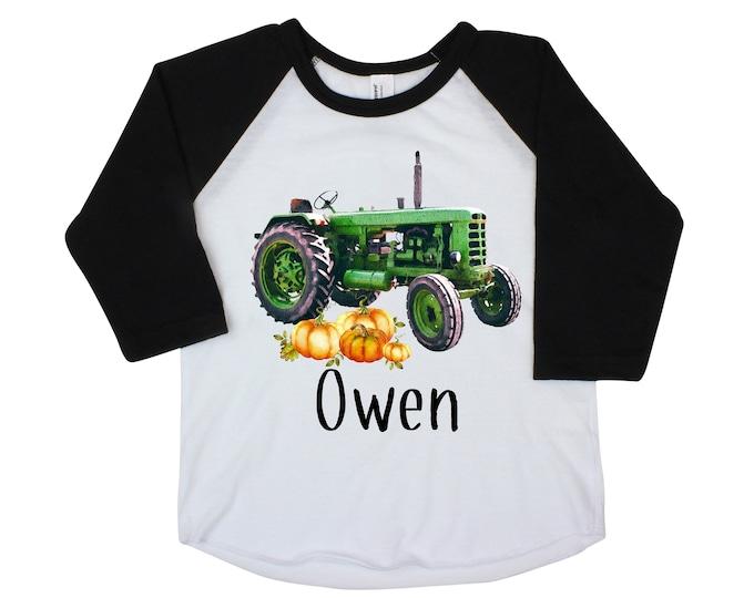 Boy Fall Tractor Shirt Personalized Raglan Green Tractor with Pumpkins Fall Boy Shirt Pumpkin Patch Shirt Vintage Tractor Shirt Farming Farm