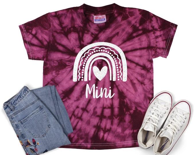 Mini Rainbow Tie Dye Shirt Mama and Mini Matching Birthday Girl Minty Pastel Neon Rainbow Adult Sizes Youth Toddler T-Shirt Tie Dye Sizes
