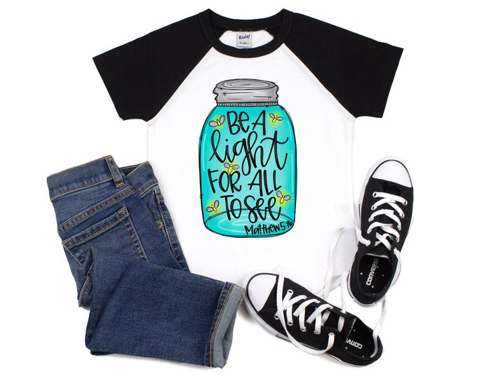 Girl Be A Light for All to See Black Raglan Shirt Christian Religious Inspirational Teen Youth Shirt Gift Short Sleeve Birthday Scripture