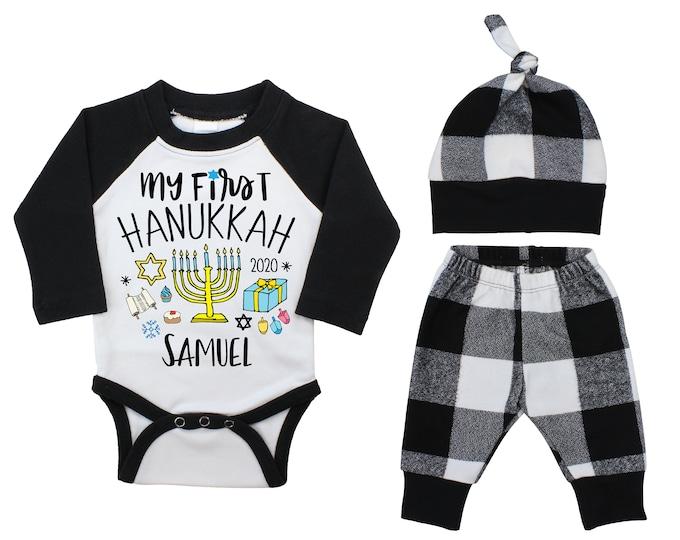 My First Hanukkah Personalized Black Raglan Outfit Boy Knot Hat White Black Flannel Pants Menorah Dreidel Hanukkah Baby Outfit