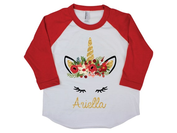 Christmas Unicorn Shirt Personalized Raglan Red Ruffle Raglan Black Raglan Gold Unicorn Christmas Floral Holiday Unicorn Holly Berries
