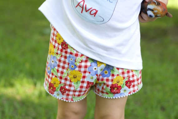 Gingham Floral Pom Pom Trim Shorts Jersey Knit Shorts Red Gingham Summer Watercolor Floral Girl Shorts Shorties Summer Shorts Girly Floral