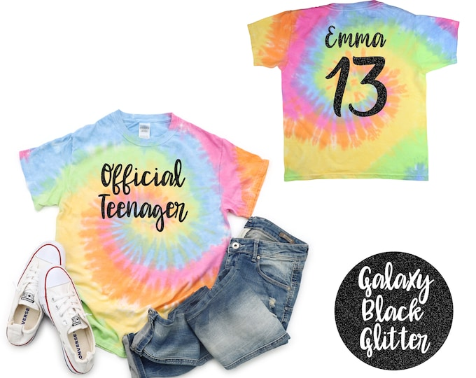 Official Teenager Unicorn Tie Dye Shirt Black Glitter Vinyl Birthday Girl Shirt Girl Birthday Shirt Tween Birthday Shirt