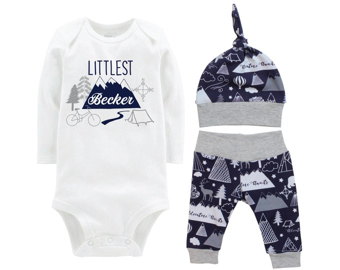 Littlest Last Name Going Home Set Adventure Awaits Mountain Navy Gray Bodysuit Infant Gift Set Monogram Boy Coming Home Outfit Trees Tent