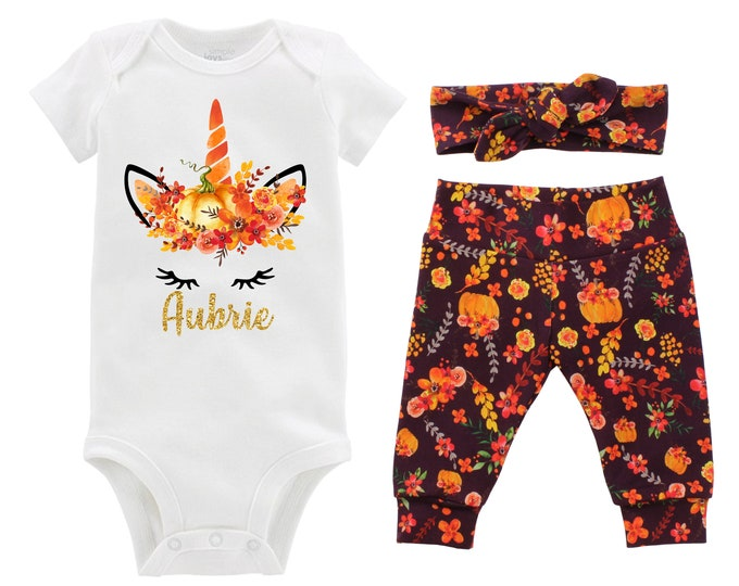 Unicorn Face Pumpkin Outfit Glitter Personalized Wine Watercolor Floral Yoga Leggings Headband Infant Fall Outfit Gold Monogram Name
