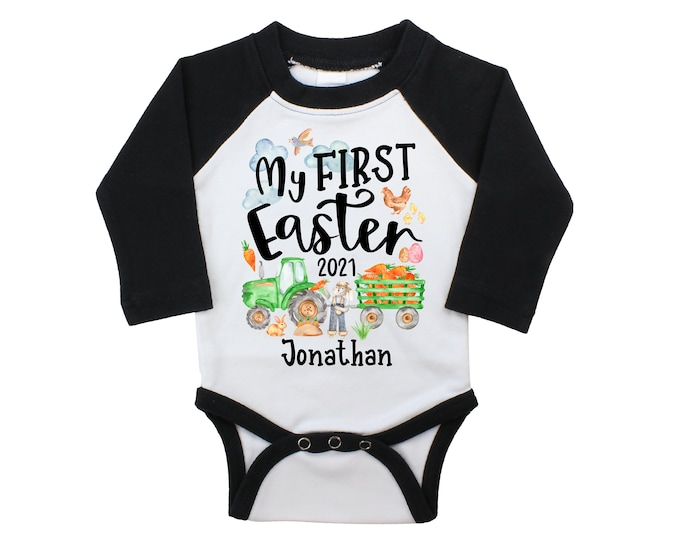My First Easter Raglan Bodysuit Green Tractor Shirt Easter Boy Baby Personalized Long or Short Sleeve Black Bodysuit
