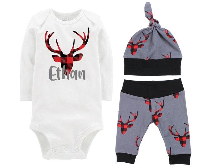 Personalized Boy Going Home Set Deer Red Black Buffalo Plaid Gray Yoga Pants Bodysuit Gift Set Monogram Boy Coming Home Outfit Buck Deer