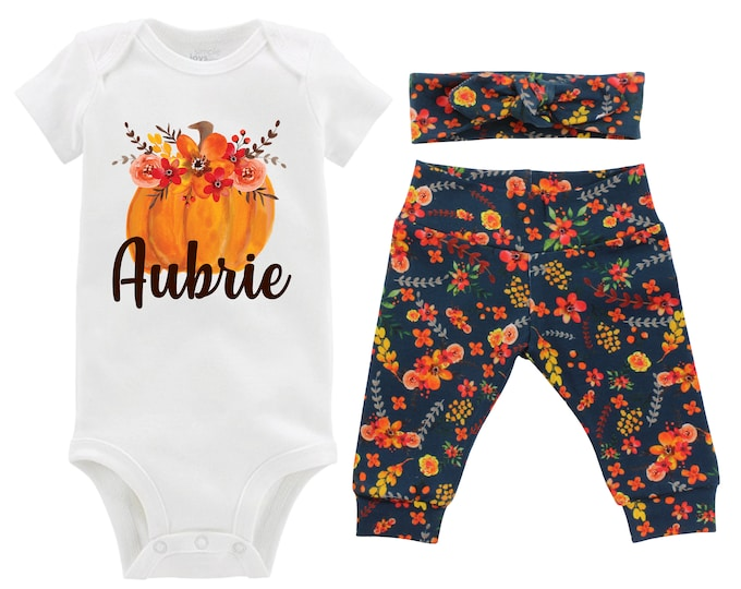 Girl Fall Pumpkin Outfit Personalized Teal Watercolor Floral Yoga Leggings Headband Infant Fall Outfit Floral Pumpkin Orange Name