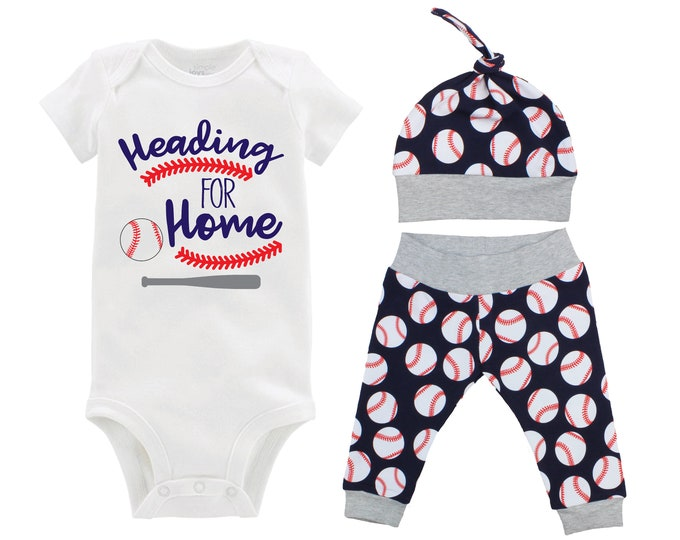 Boy Baseball Heading for Home Outfit Personalized Baby Coming Going Home Outfit Yoga Pants Navy Blue Gray Baseball Boy Knot Hat Baby Gift