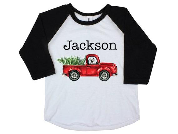Boy Christmas Shirt Red Truck Christmas Tree Personalized Raglan Old Red Truck Dog Name Shirt Boy Toddler Baby Youth Shirt Red Black Shirt